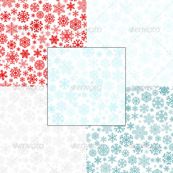 GraphicRiver Christmas Seamless Patterns from Snowflakes 5713975