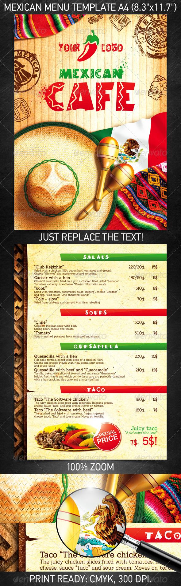 Mexican Menu Template - Food Menus Print Templates