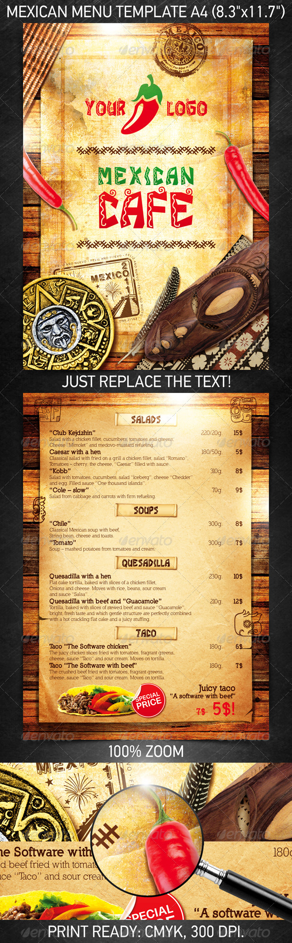 Mexican Menu Template - Restaurant Flyers