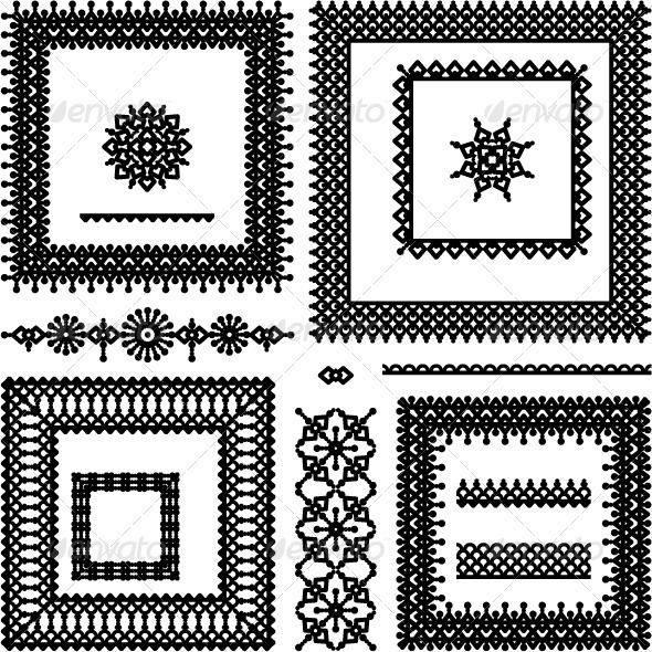 GraphicRiver Lace or Filigree Frames Borders Vignettes Divid 588117