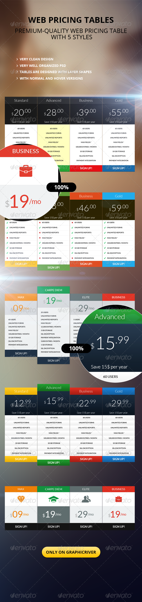 GraphicRiver Clean Pricing Table 5716062
