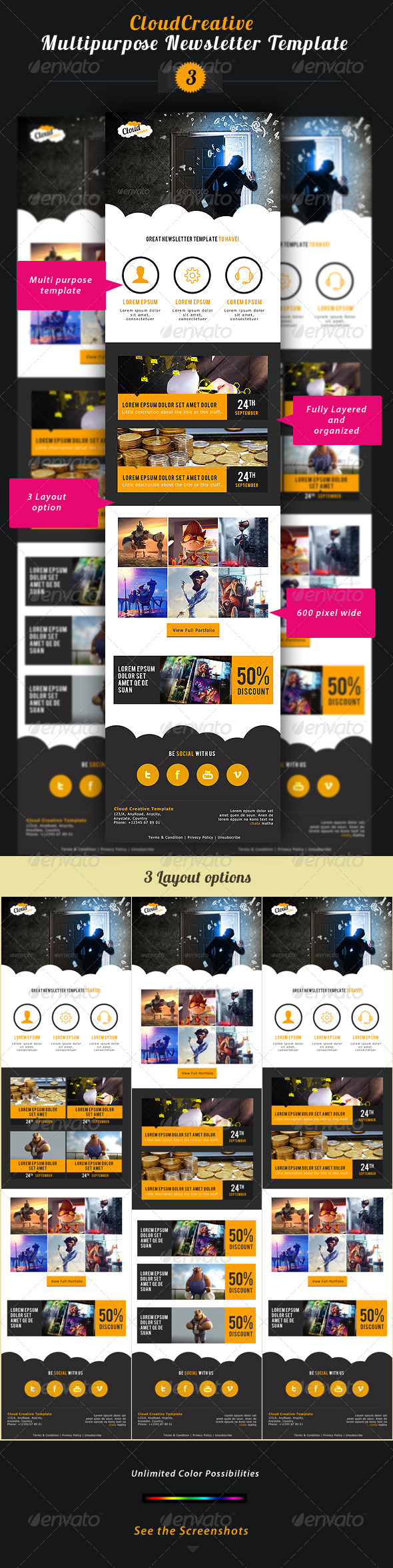 GraphicRiver Cloud Creative Multipurpose E-newsletter Template 5716135