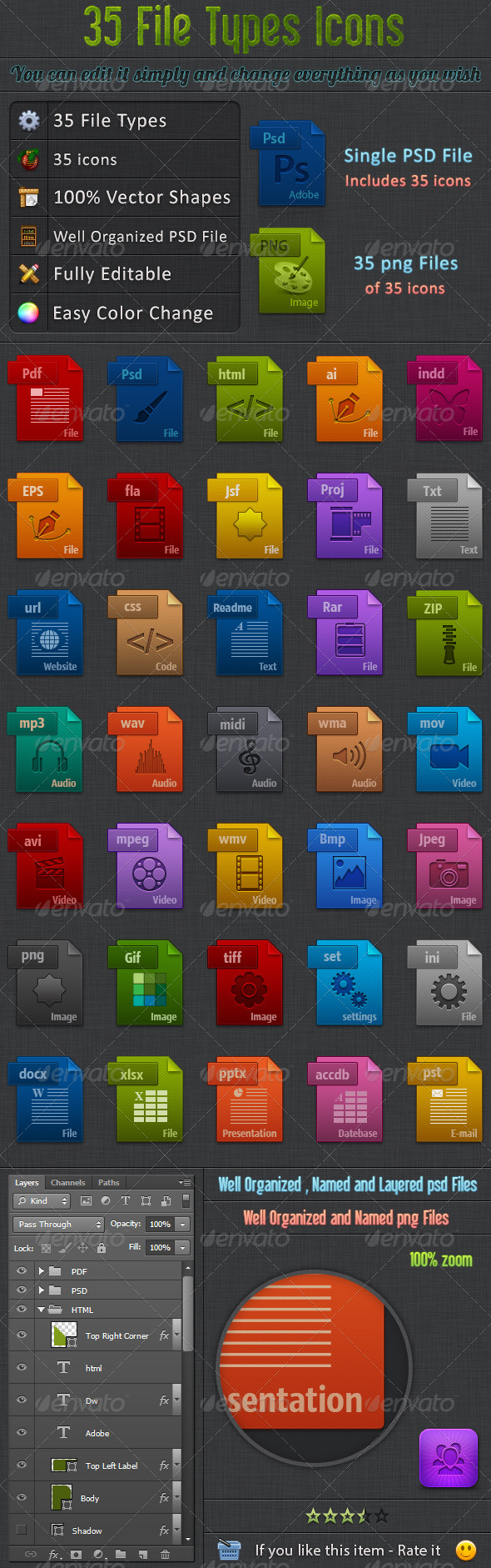 GraphicRiver 35 File Types Icons 5707905