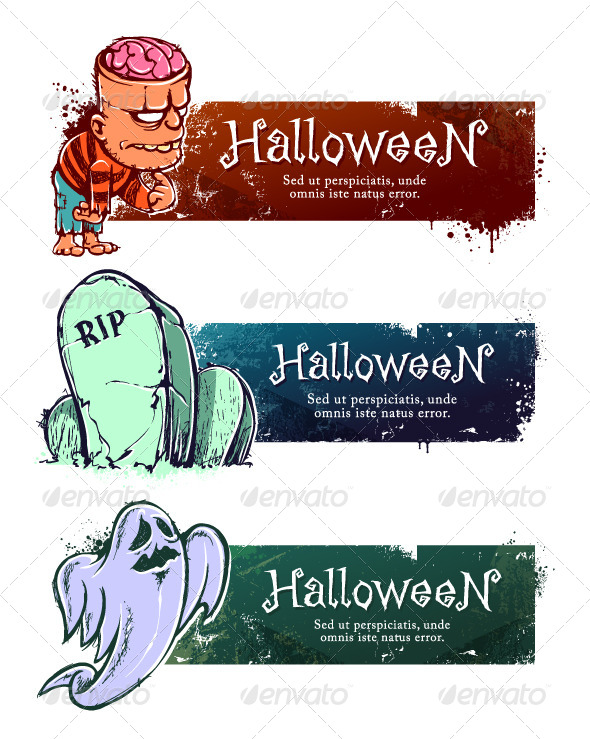 GraphicRiver Set of Hand-Drawn Halloween Banners 5716479