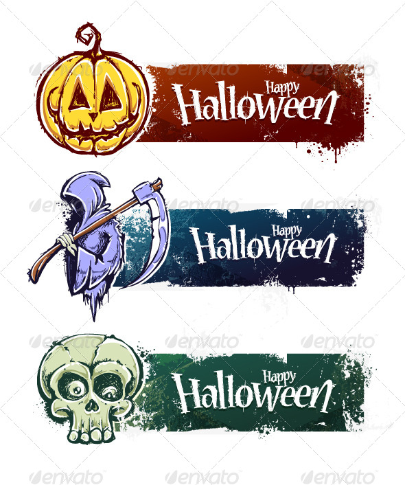 GraphicRiver Set of Hand-Drawn Halloween Banners 5716525
