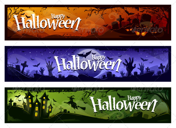 GraphicRiver Cartoon Halloween Banners Set 5716634