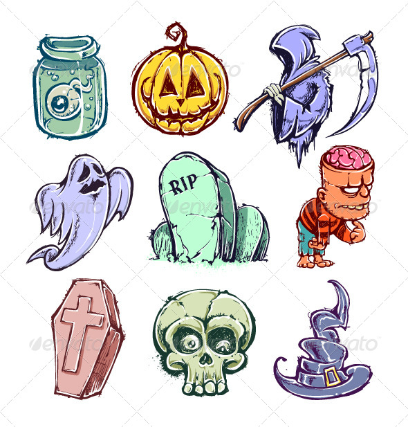GraphicRiver Set of Funny Halloween Characters 5716663