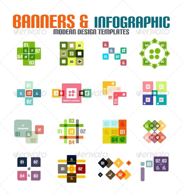 GraphicRiver Set of Modern Geometrical Banners and Infographics 5717465