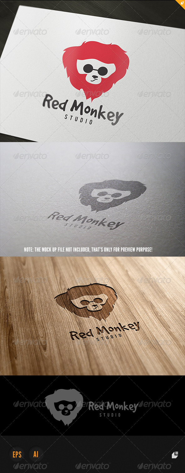GraphicRiver Red Monkey logo 5717940