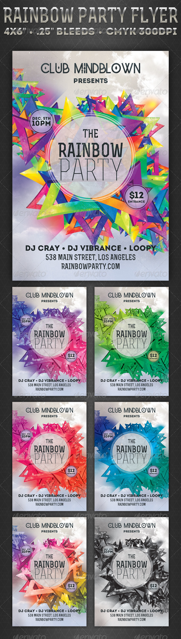 GraphicRiver Rainbow Party Flyer 5718114