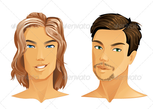 GraphicRiver Two Men with Different Hairstyle 5718306
