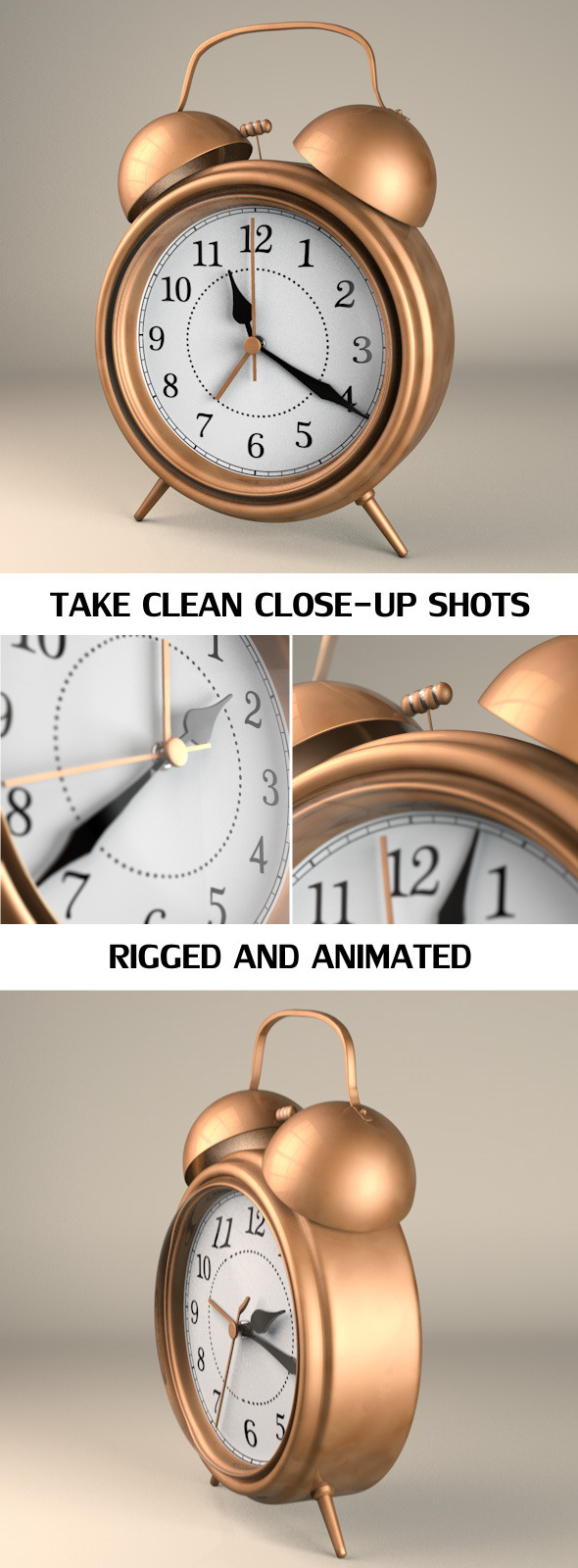 Rigged and Animated Vintage Alarm Clock