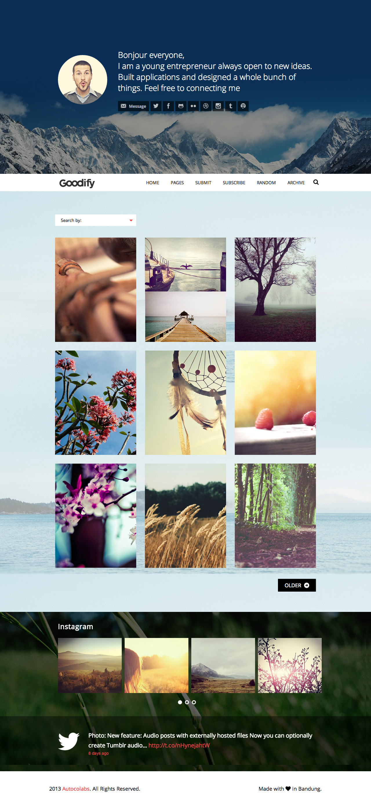 Goodify - Responsive Tumblr Portfolio Theme - GOODIFY - Home Page