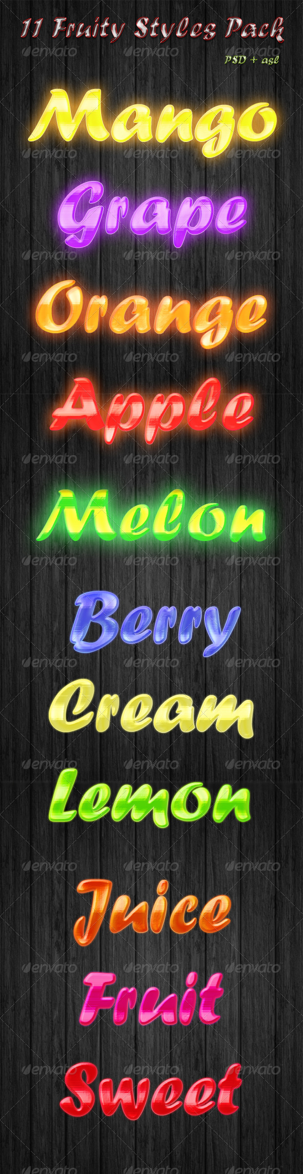 GraphicRiver 11 Fruity Text Styles Pack 5705815