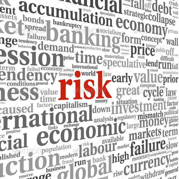 Risk in economy and finance concept in word tag cloud on white b - Stock Photo - Images