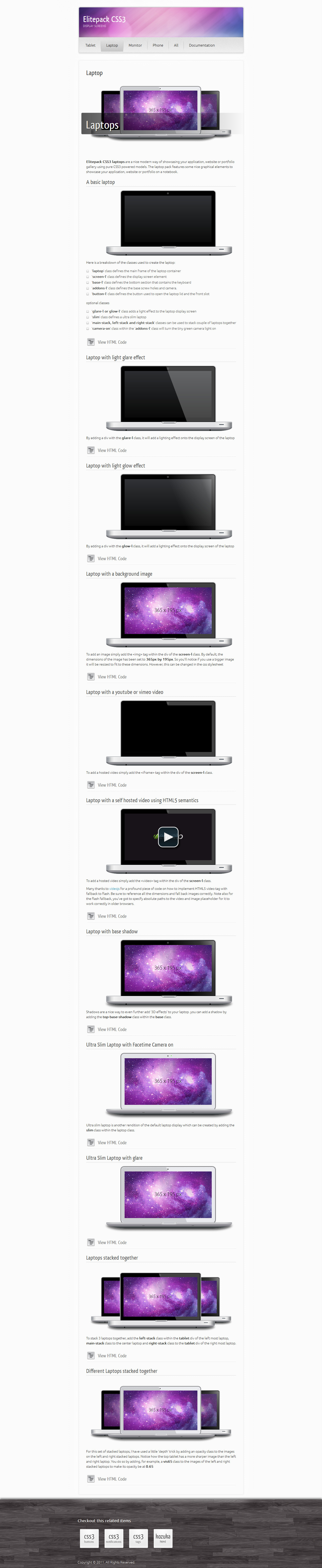 Elitepack CSS3 Display Screens - Screenshot 03 - Elitepack CSS3 Laptops in Firefox 6