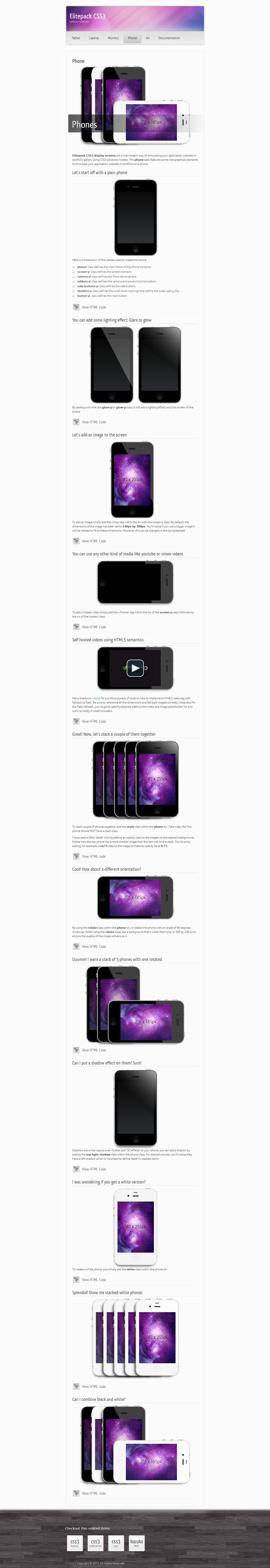 Elitepack CSS3 Display Screens - Screenshot 05 - Elitepack CSS3 Phones in Firefox 6