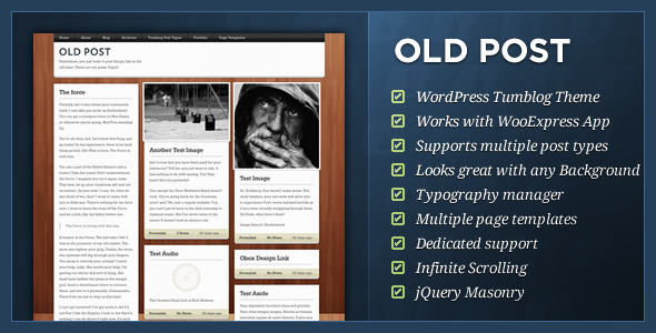 ThemeForest Old Post WordPress Tumblog Theme 257926