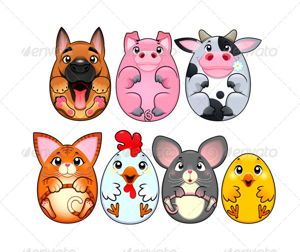 GraphicRiver Funny Animals Rounded Like Eggs 5724050