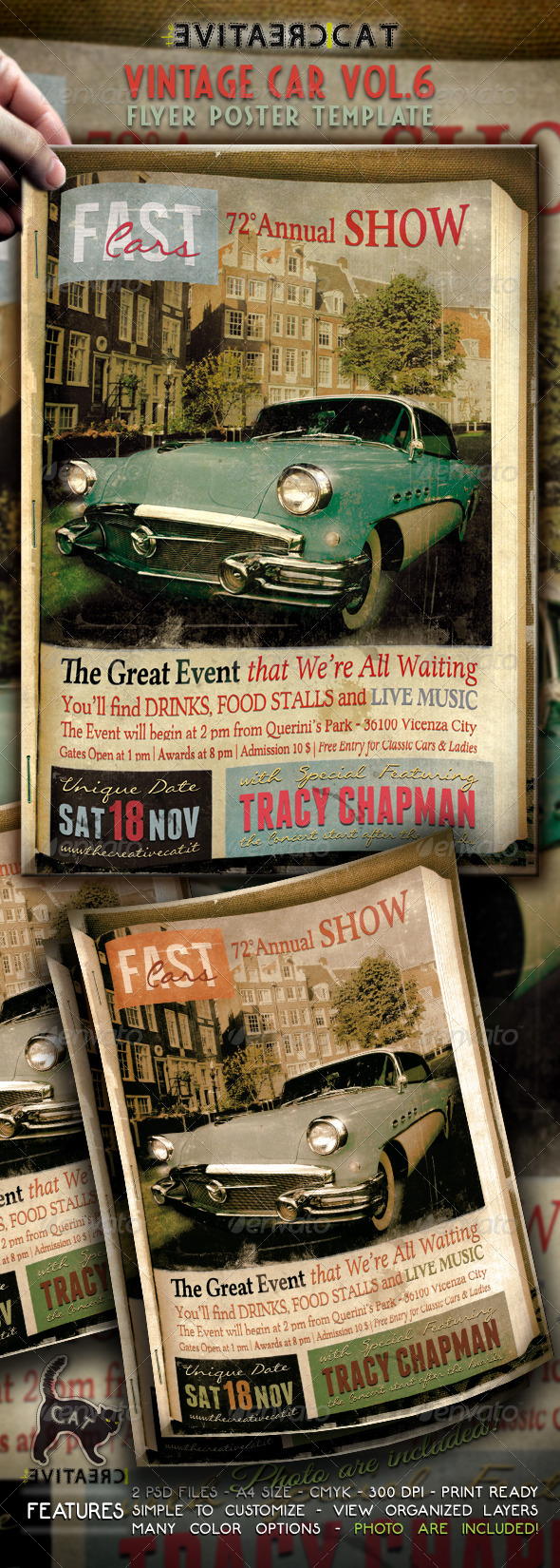 GraphicRiver Vintage Car Flyer Poster Vol 6 5725137