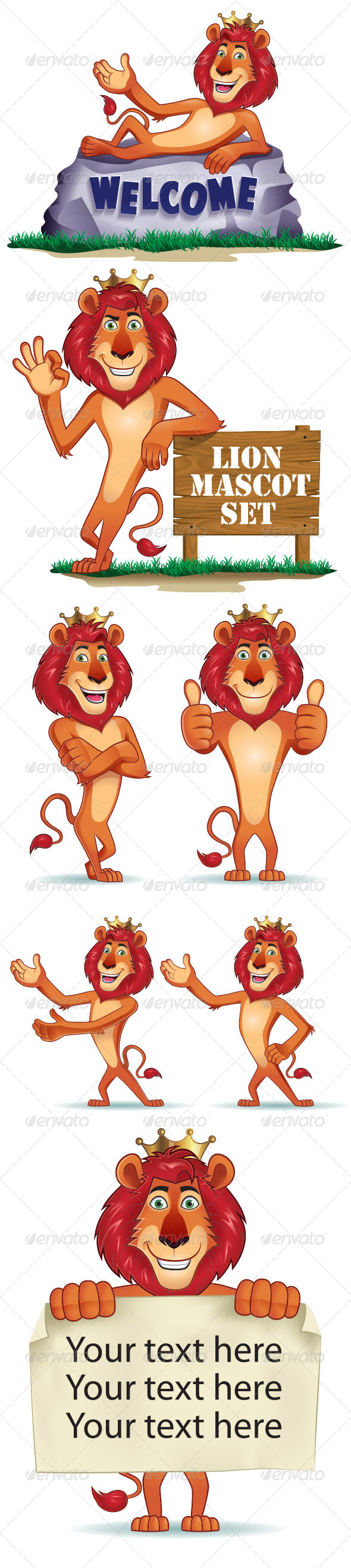 GraphicRiver Lion Mascot Set 5725409