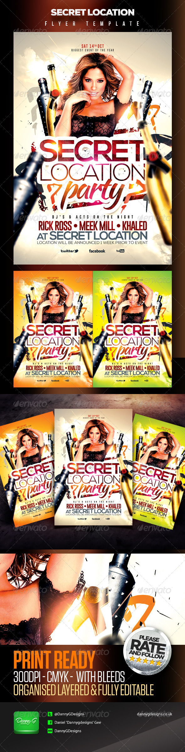 Secret Location Nightclub/Party Flyer Template - Clubs & Parties Events