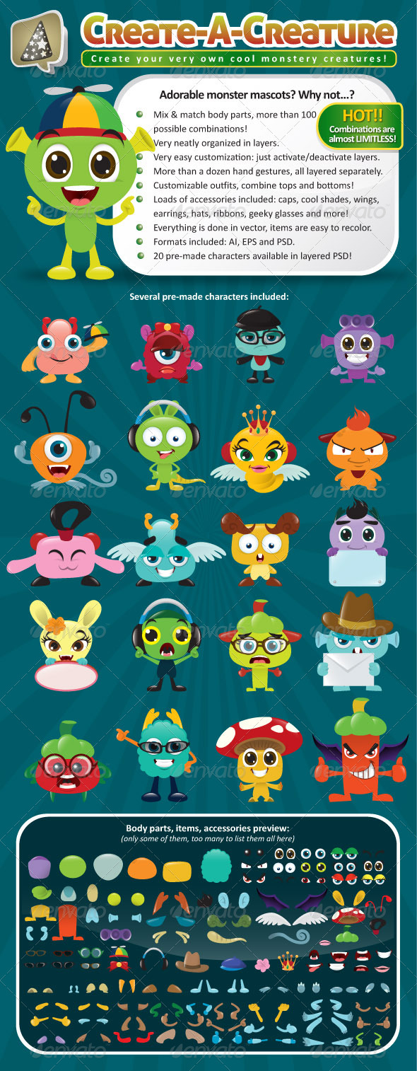 Create-A-Creature - Mascot Monster Pack - Monsters Characters