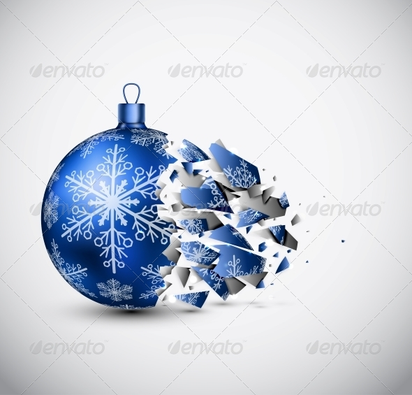 GraphicRiver Broken Blue Christmas Ball 5726061