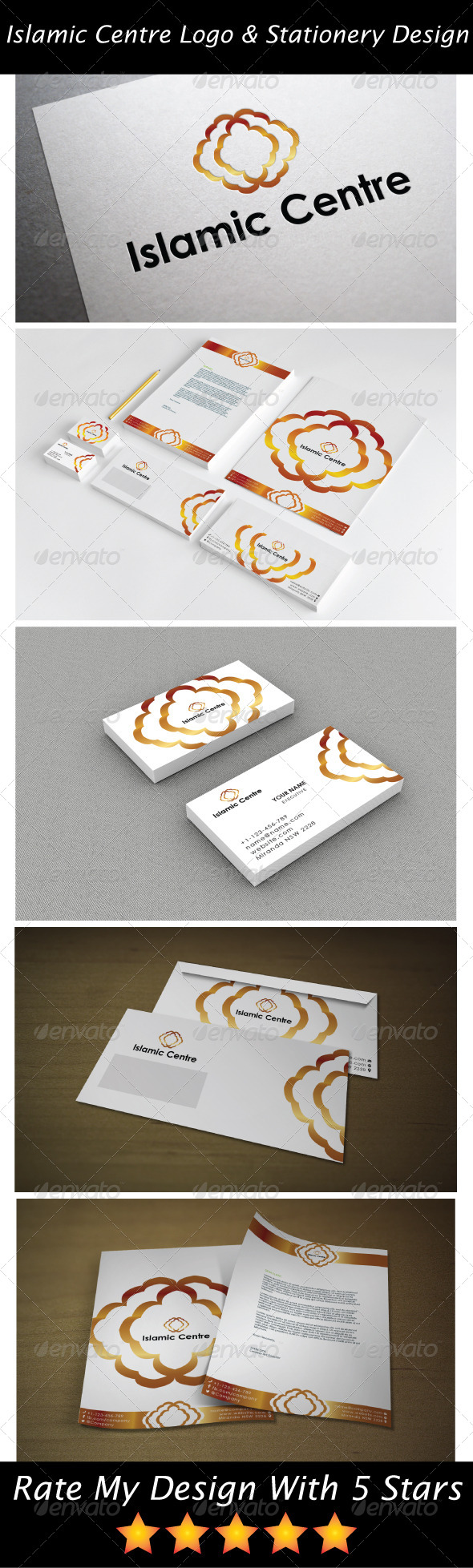 GraphicRiver Gold Islamic Service Logo & Stationery Design 5726220