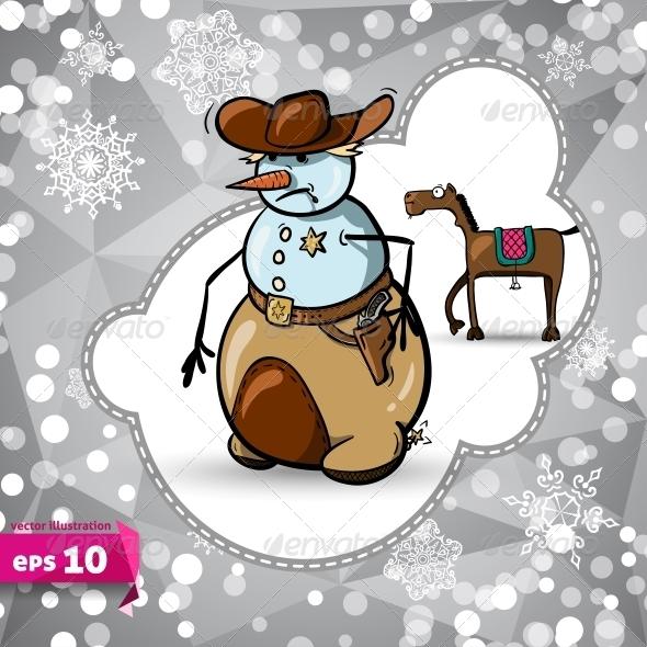 GraphicRiver Vector Cartoon Horse Symbol of 2014 Winter 5727132