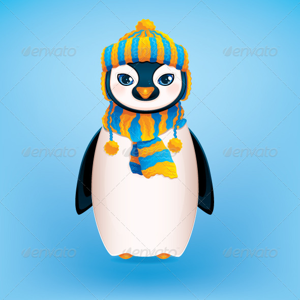 GraphicRiver Penguin on Blue Background 5727387