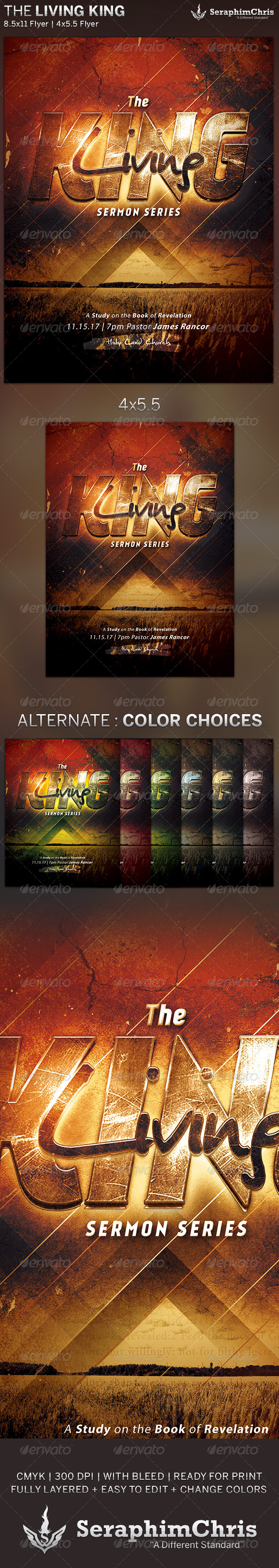 GraphicRiver The Living King Church Flyer Template 5728161