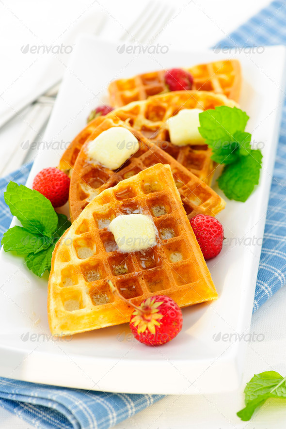 Belgian waffles - Stock Photo - Images