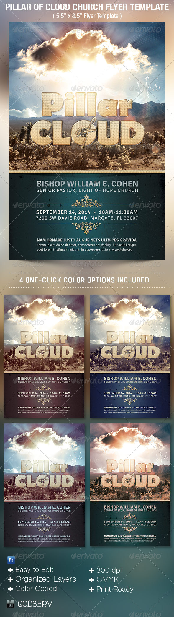 Pillar of Cloud Church Flyer Template - Print Templates