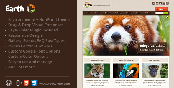 Earth - Eco/Environmental NonProfit WordPress Theme - Environmental Nonprofit