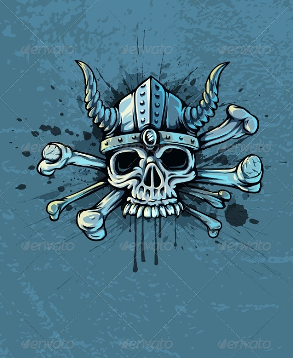 GraphicRiver Skull in Helmet with Horns And Bones 5728573