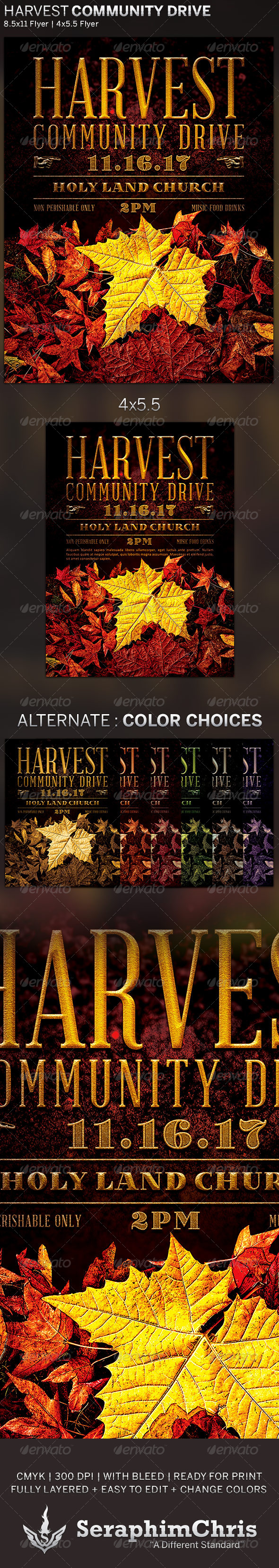 Harvest Community Drive: Church Flyer Template - Church Flyers
