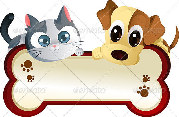 GraphicRiver Dog and Cat with Banner 5729010