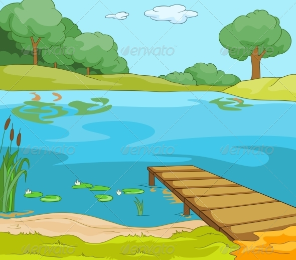 Cartoon River With Lake » Fixride.com