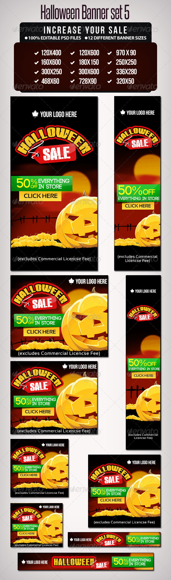 GraphicRiver Halloween Banner Set 5 12 Google Size Banners 5729319