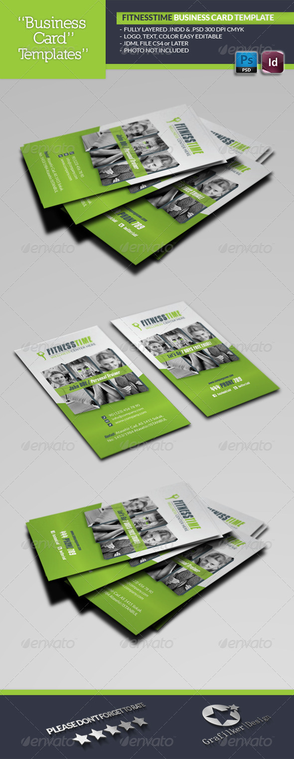 Fitness Time Business Card Template - Business Cards Print Templates