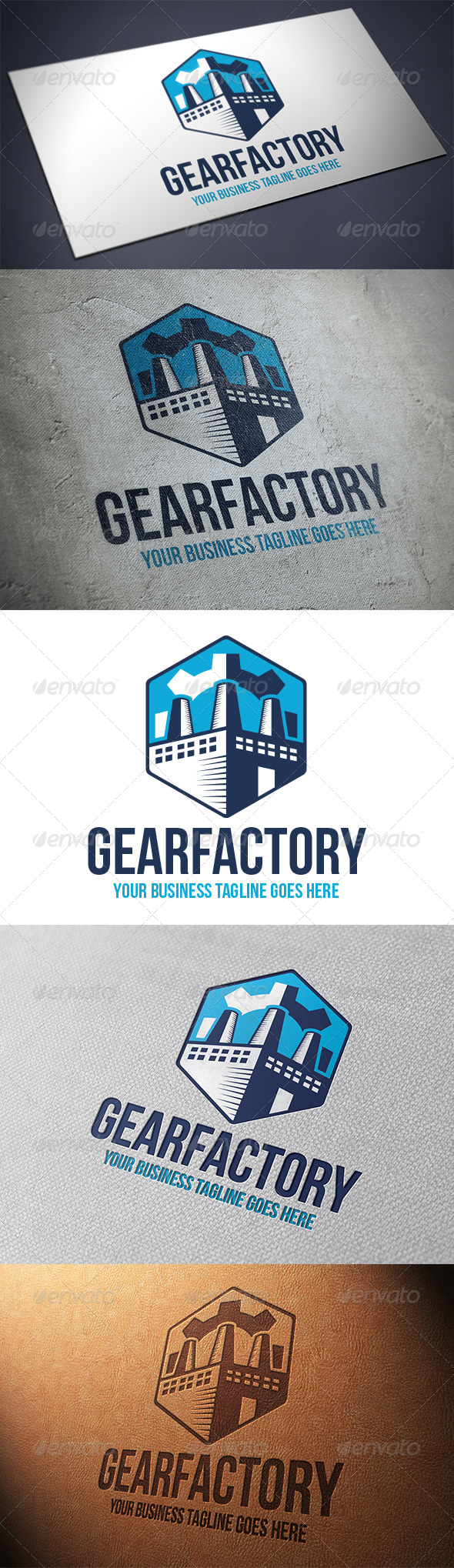 Gear Factory Logo - Buildings Logo Templates