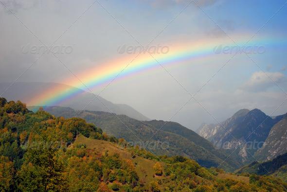 gorgeous rainbow after a heavy rain
