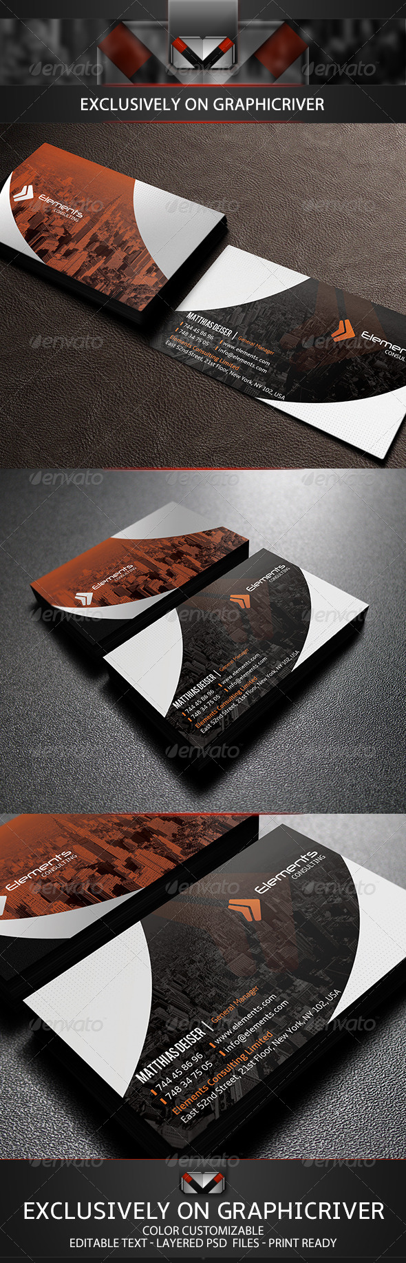 GraphicRiver Orange Corporate Business Card 5731376