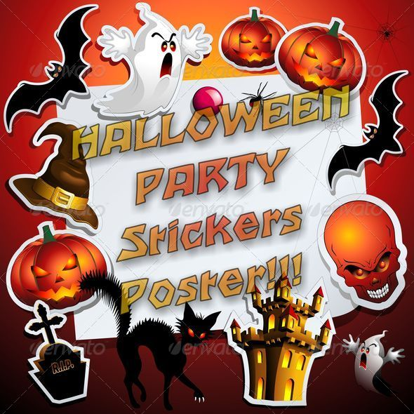 GraphicRiver Halloween Stickers Poster Frame 5694049