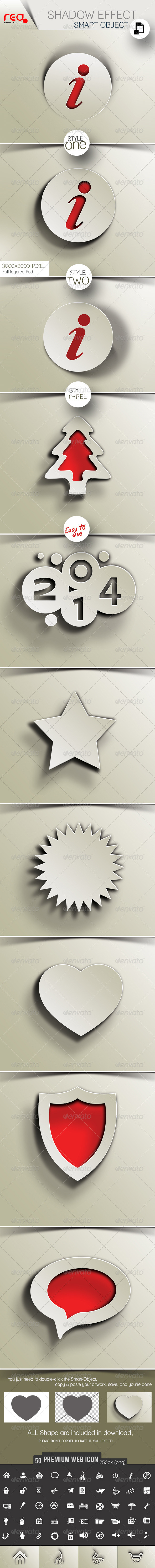 50 Premium Web Icon With 3 Shadow Effect  - Buttons Web Elements
