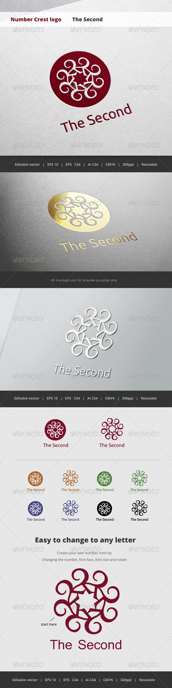 GraphicRiver The Second Number Crest Logo 5718650