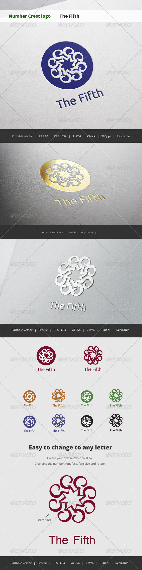 GraphicRiver The Fifth Number Crest Logo 5718695