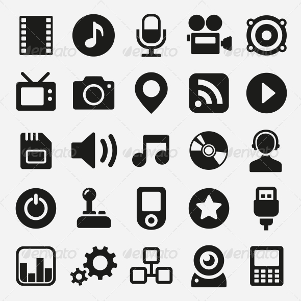 GraphicRiver Multimedia Icons Set 5733346