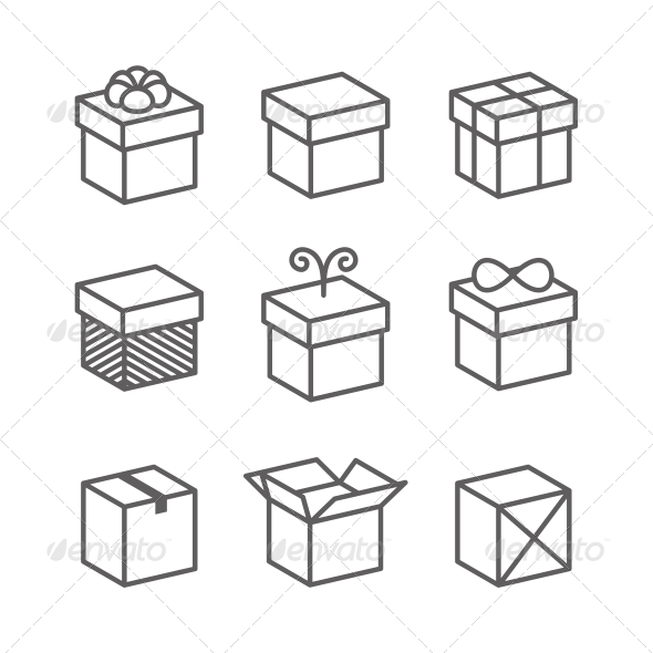 Vector Gift Box Icons Holiday Presents